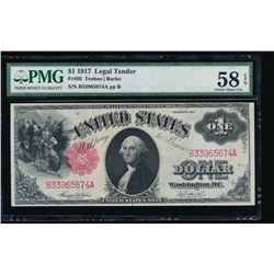 1917 $1 Legal Tender Note PMG 58EPQ