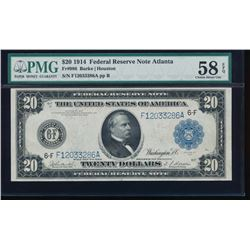 1914 $20 Atlanta Federal Reserve Note PMG 58EPQ