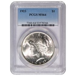 1923 $1 Peace Silver Dollar Coin PCGS MS64