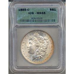 1885-O $1 Morgan Silver Dollar Coin ICG MS65