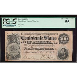 1864 $500 Confederate States of America Note PCGS 55