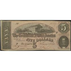 1864 $5 Confederate States of America Note