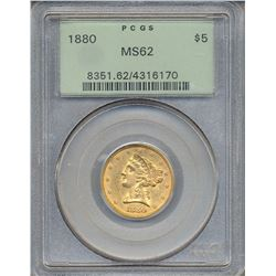 1880 $5 Liberty Head Half Eagle Gold Coin PCGS MS62