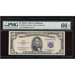 1953A $5 Silver Certificate PMG 66EPQ