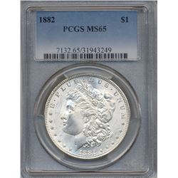 1882 $1 Morgan Silver Dollar Coin PCGS MS65