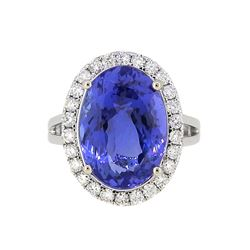 18KT White Gold 9.70ct Tanzanite and Diamond Ring