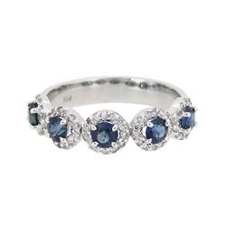 14KT White Gold 1.05ctw Blue Sapphire and Diamond Ring