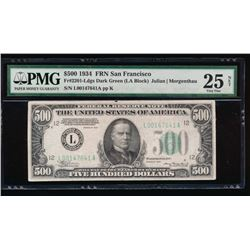 1934 $500 San Francisco Federal Reserve Note PMG 25NET