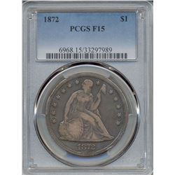 1872 $1 Seated Dollar Coin PCGS F15