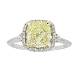 14KT Two Tone Gold 1.42ct Fancy Light Yellow Diamond Ring