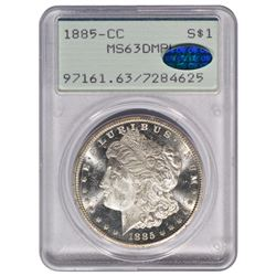 1885-CC $1 Morgan Silver Dollar Coin PCGS MS63DMPL CAC