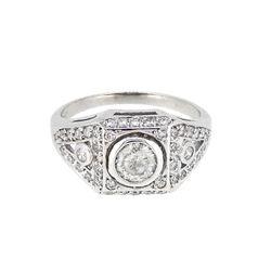 Platinum 0.88ctw Diamond Ring