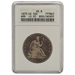 1876-CC Arrows Seated Liberty Half Dollar ANACS  VG8