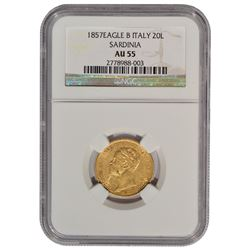 1857 Eagle B Italy 20 Lire Gold Coin NGC AU55