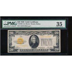 1928 $20 Gold Certificate PMG 35