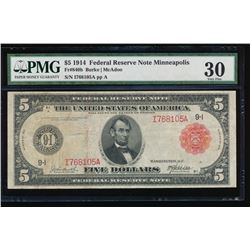 1914 $5 Minneapolis Red Seal Federal Reserve Note PMG 30
