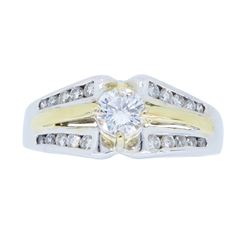 14K Two Tone Gold 0.65ctw Diamond Ring