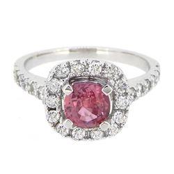 18K White Gold 1.14ct Padparadscha Sapphire and Diamond Ring