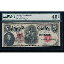 1907 $5 Legal Tender Note PMG 40 EPQ