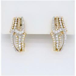 18KT Two Tone Gold 0.85ctw Diamond Earrings