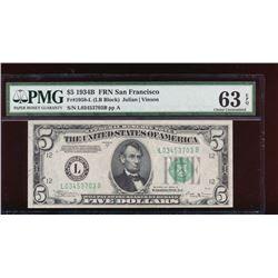 1934B $5 San Francisco Federal Reserve Note PMG 63EPQ