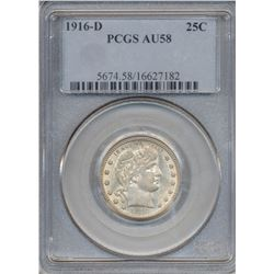 1916-D Barber Quarter Coin PCGS AU58