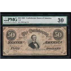 1864 $50 Confederate States of America Note PMG 30