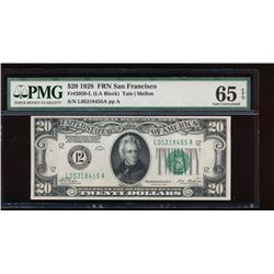 1928 $20 San Francisco Federal Reserve Note PMG 65EPQ