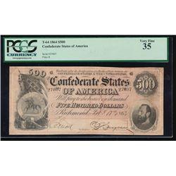 1864 $500 Confederate States of America Note PCGS 35