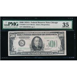 1934A $500 Chicago Federal Reserve Note PMG 35