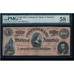 1864 $100 Confederate States of America Note PMG 58EPQ