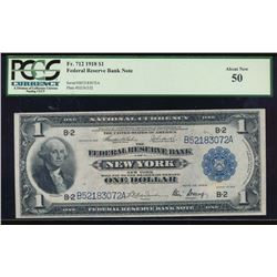 1918 $1 New York Federal Reserve Bank Note PCGS 50