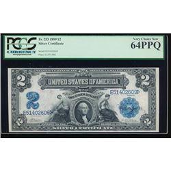 1899 $2 Mini Porthole Silver Certificate PCGS 64PPQ