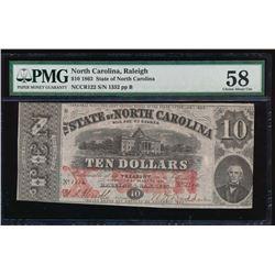 1863 $10 State of North Carolina Obsolete Note PMG 58