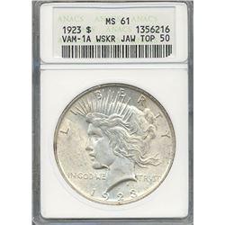 1923 $1 Peace Silver Dollar Coin ANACS MS61