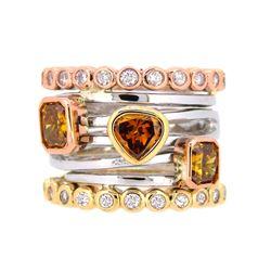 14KT Tri Color Gold 2.18ctw Fancy Diamond Ring