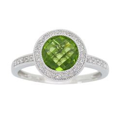 14KT White Gold 1.46ct Peridot and Diamond Ring