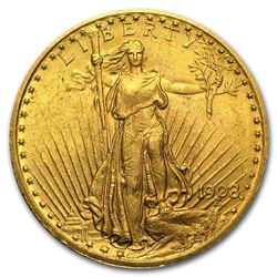 1908 $20 Saint Gaudens Double Eagle with Motto Gold Coin