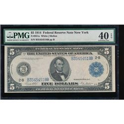 1914 $5 New York Federal Reserve Note PMG 40EPQ