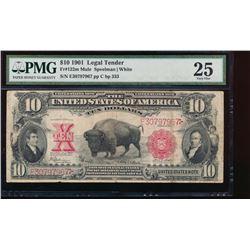 1901 $10 Bison Legal Tender Note PMG 25
