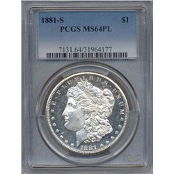 1881-S $1 Morgan Silver Dollar Coin PCGS MS64PL