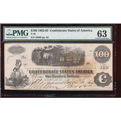 1862-63 $100 Confederate States of America Note PMG 63