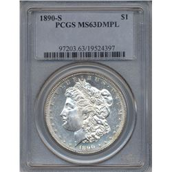 1890-S $1 Morgan Silver Dollar Coin PCGS MS63DMPL