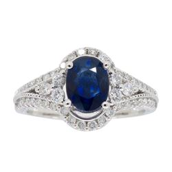 14KT White Gold 1.12ct Blue Sapphire and Diamond Ring