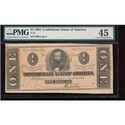1864 $1 Confederate States of America Note PMG 45