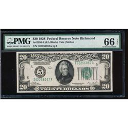 1928 $20 Richmond Federal Reserve Note PMG 66EPQ
