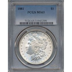 1881 $1 Morgan Silver Dollar Coin PCGS MS65