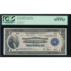 1918 $1 New York Federal Reserve Bank Note PCGS 65PPQ