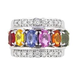 14KT White Gold 3.32ctw Multi Color Sapphire and Diamond Ring