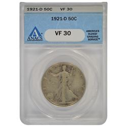 1921-D Walking Liberty Half Dollar Coin ANACS VF30